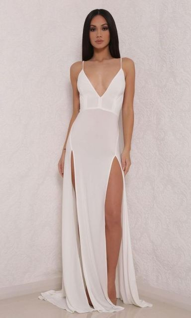 2017 Y Inspired By Kylie Jenner Celebrity Dress Deep V Neck White Prom Party