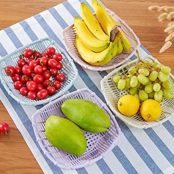 Creative hollow fruit basket Kitchen Simple Vegetable Square Fruit Basket Living room plastic snack plate A20