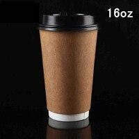 100ชิ้น/ล็อต16ออนซ์สองชั้นฉนวนกันความร้อนคราฟท์กระดาษถ้วยกาแฟนมทิ้งเครื่องดื่มร้อนถ้วยมีฝ...