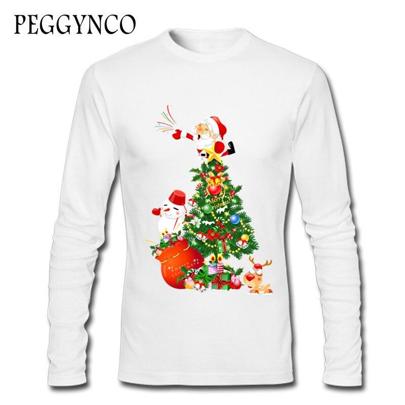 Футболка 2017 осень-зима дерево и сатана Клауса Футболка с принтом Повседневное Свободные О-образным вырезом Chirstmas футболки