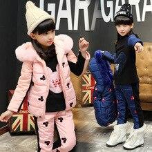 2016 Зимние девушки мультфильм Микки Маус анимации из трех частей одежды костюм дети мода хлопок набор
