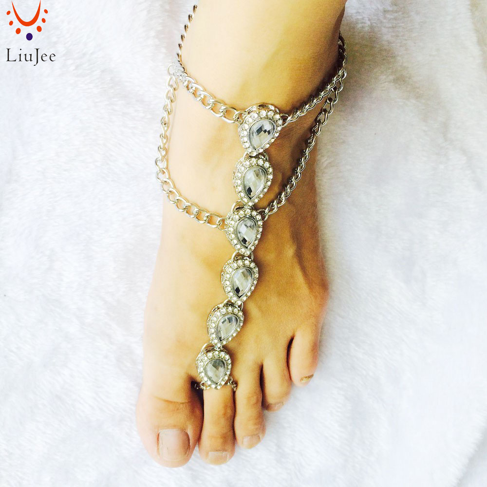 Barefoot Sandals Foot Jewelry Gold Color Wedding Jewelry Wedding Sandals Anklet Foot Thong Beach wedding Shoes Sandles AK019