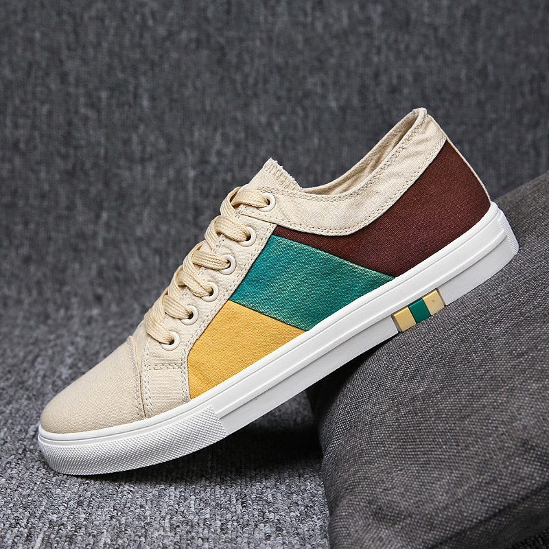 2019 New Men Canvas Shoes Lace up Sneakers Casual Mixed Color Design Adult Male Skate Footwear Back To School Breathable Nonslip