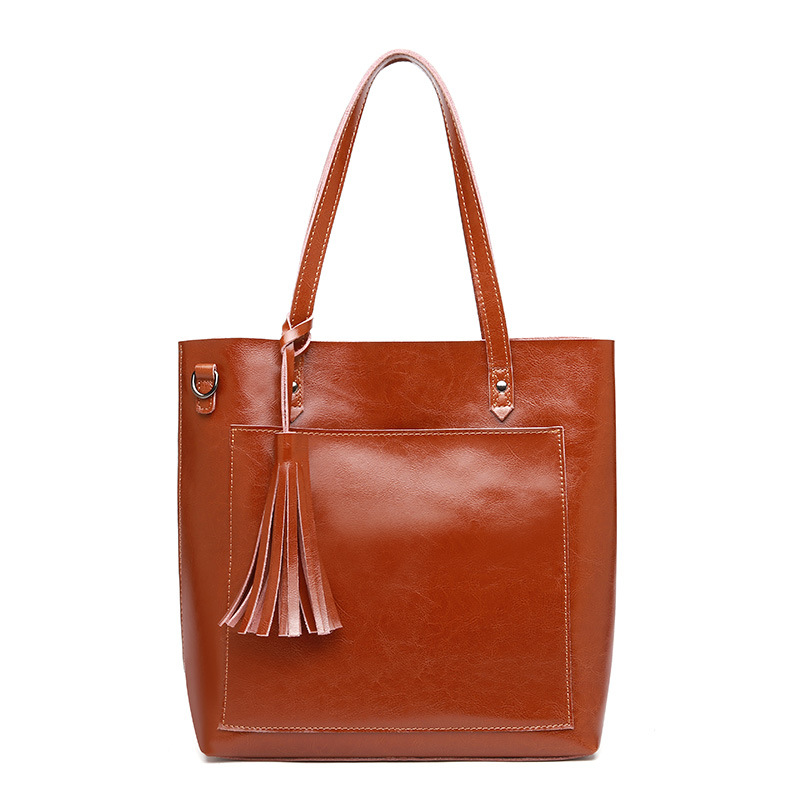 Beautiful Tassel Decoration Genuine Leather Women Shoulder Bag Real Cow Leather Fashion Brand Designer Women TotesBeautiful Tassel Decoration Genuine Leather Women Shoulder Bag Real Cow Leather Fashion Brand Designer Women Totes