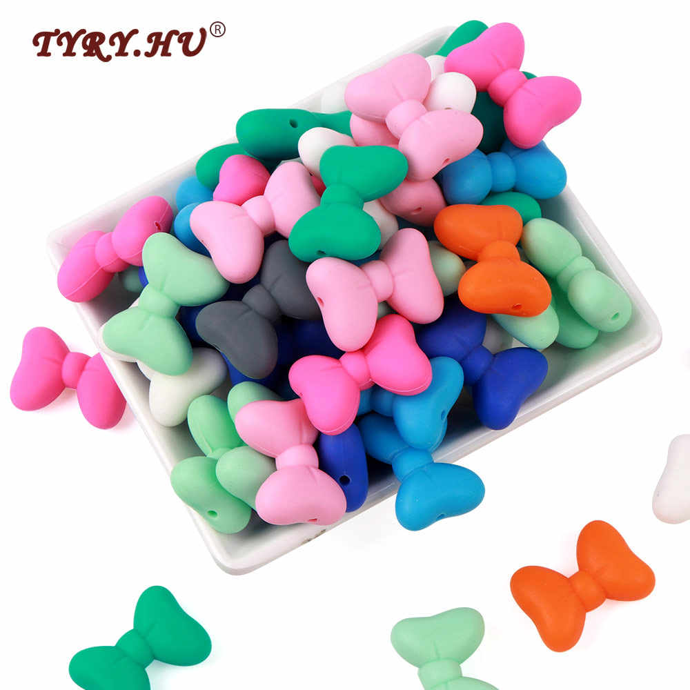 TYRY.HU 5pc Silicone Bow Tie Beads Pink Food Grade Baby TeethingChewable Beads For Jewelrys Making Necklace Bracelet DIY
