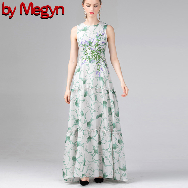 a53cb16314a7 by Megyn Fashion Runway Maxi Dresses Women s Long Sleeveless embroidery  print Vintage Grey Dress Elegant Party Dress