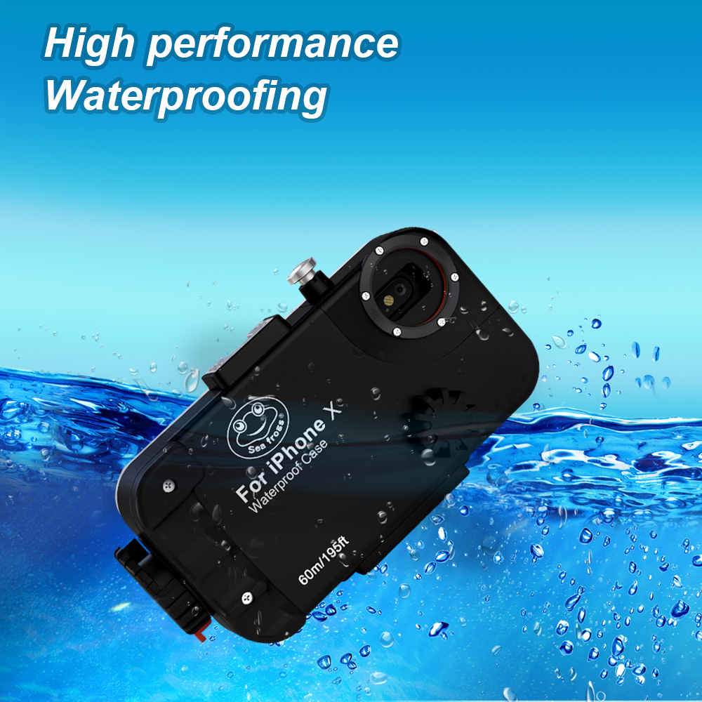 Diving Phone Housing case For iPhone X 60m Professional Waterproof Protective Cover Color Filter Shoot bright Photo Necessary (3)