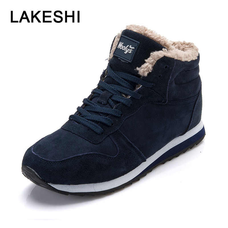 LAKESHI Men Boots 2019 Winter Shoes Warm Fur Ankle Boots Men Shoes Black Fashion Couple Work Sefety Shoes Lace Up Male Shoes