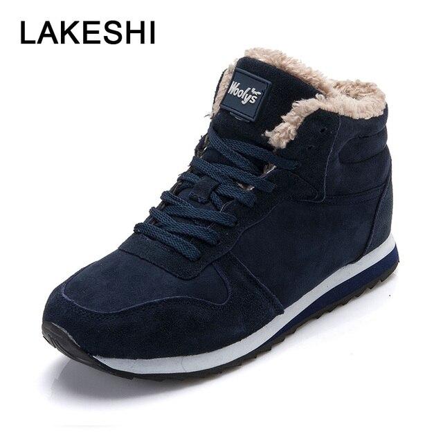 LAKESHI Mannen Laarzen 2018 Winter Schoenen Warme Vacht Enkellaarsjes Mannen Schoenen Zwart Mode Paar Werk Sefety Schoenen Lace Up mannelijke Schoenen