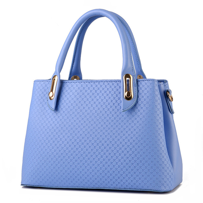 Elegant PU Women Shoulder Bag Office Lady Business Handbag Casual Clutch Zipper High Quality Light Blue elegant pu office lady business handbag casual clutch fashion women shoulder bag zipper pink
