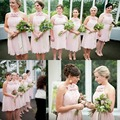 2016 Hot Sale Pink Short Bridesmaid Dresses With Flowers Chiffon Knee Length Beach Formal Wedding Maid Of Honor Party Gowns