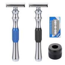 Mens Safety Razor Man Shaving Razor Anti-slip Stripe Handle Classic Double Edge Razor Blade & Base Manual Razor Shaving Tools