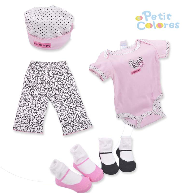 0-6M 5 Pcs Newborn Baby Gift Sets Baby Rompers+Pants+Two Pairs Of Socks+Hat Summer Dot Kids Sets Baby Clothes Cotton Suits V20
