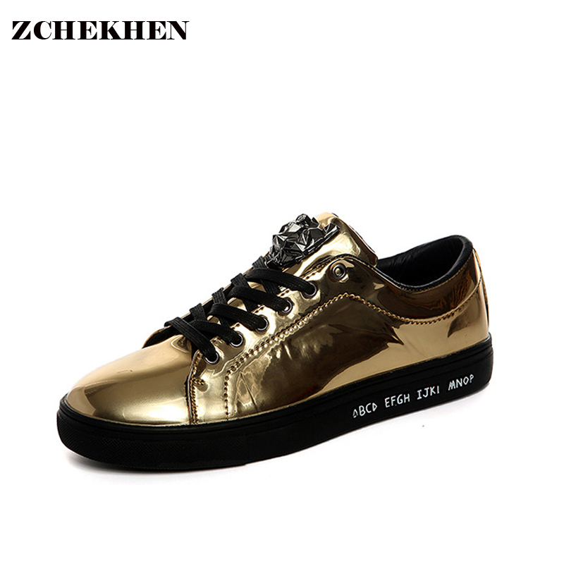2016 Gold lace-up Fashion Breathable Men Casual Shoes Femme Flats patent leather Trainers Zapatillas Deportivas shoes 2017 new summer breathable men casual shoes autumn fashion men trainers shoes men s lace up zapatillas deportivas 36 45