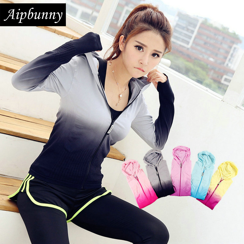 Aipbunny 2017 Women's Gradient Color Sports Jersey Shirt Outdoor Workout T-shirts Gym Yoga Top Fitness Running Shirts Sport Tees crazyfit mesh hollow out sport tank top women 2018 shirt quick dry fitness yoga workout running gym yoga top clothing sportswear