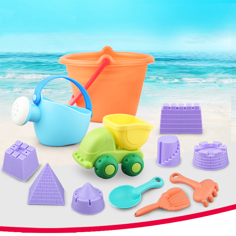 NEW Kids Beach Sand Toys Set Kids Outdoor Toys Beach Bucket Beach Shovel Tool Kit Sandbox Toys for Toddlers Flexible Glue PVC 5