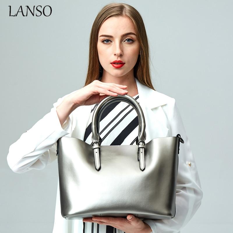 ФОТО LANSO Composite Handbag for Women Vintage Design Handle Bags Spring New Solid Zipper Shoulder Bag American Ladies Casual Totes