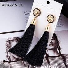 WNGMNGL New Women Earrings Bohemian Silk Fabric 9 Colors Crystal Long Drop Tassel For 2018 Fashion Jewelry Gift