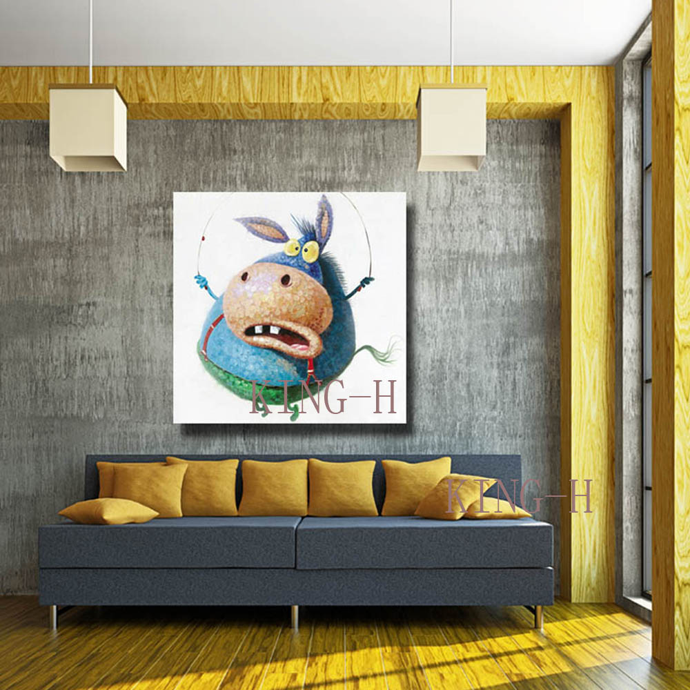 Hand painted oil painting the blue beetle in modern sports funny sofa decorate children room hall hotel bedroom in Painting Calligraphy from Home Garden