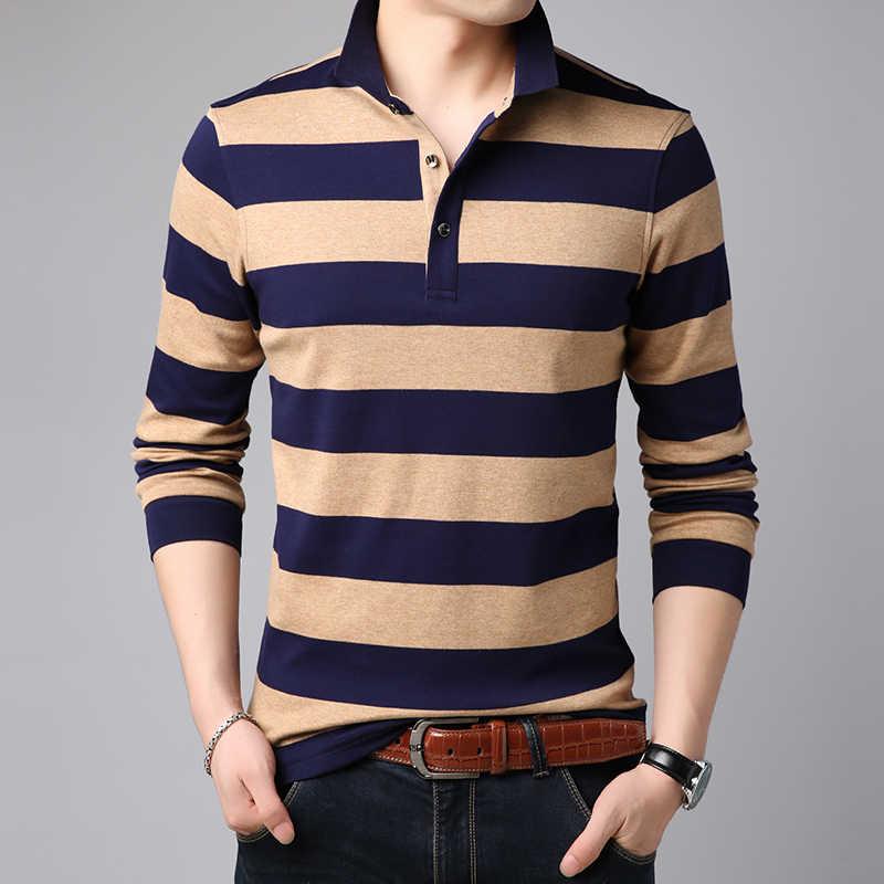 577c5286 ... 2019 New Fashions Brand Polo Shirt Mens Korean Striped Long Sleeve Slim  Fit Boys Collar Senior ...