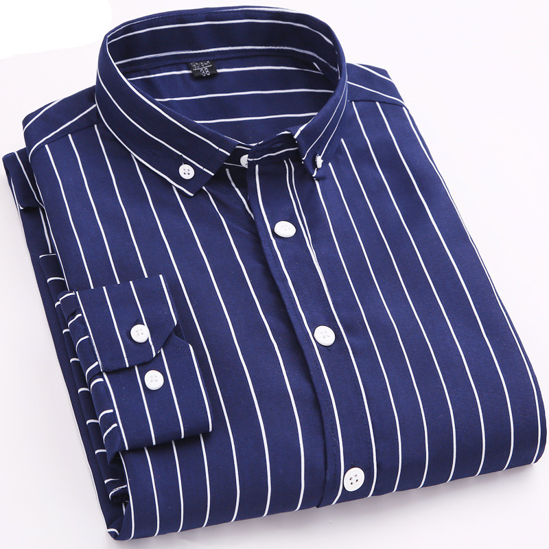 Spring And Summer New Men's Long-sleeved Shirt / High-quality Business Cotton Striped Print Slim Formal Men's Long-sleeved Shirt