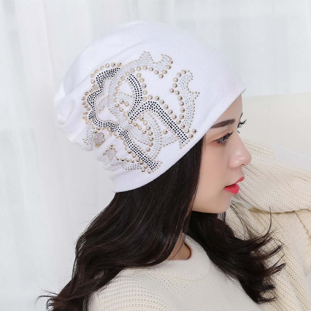 women girl beauty brand hat cap designer luxury style rhinestone beads outdoor winter hats colorful cotton trendy   beanies   gorros