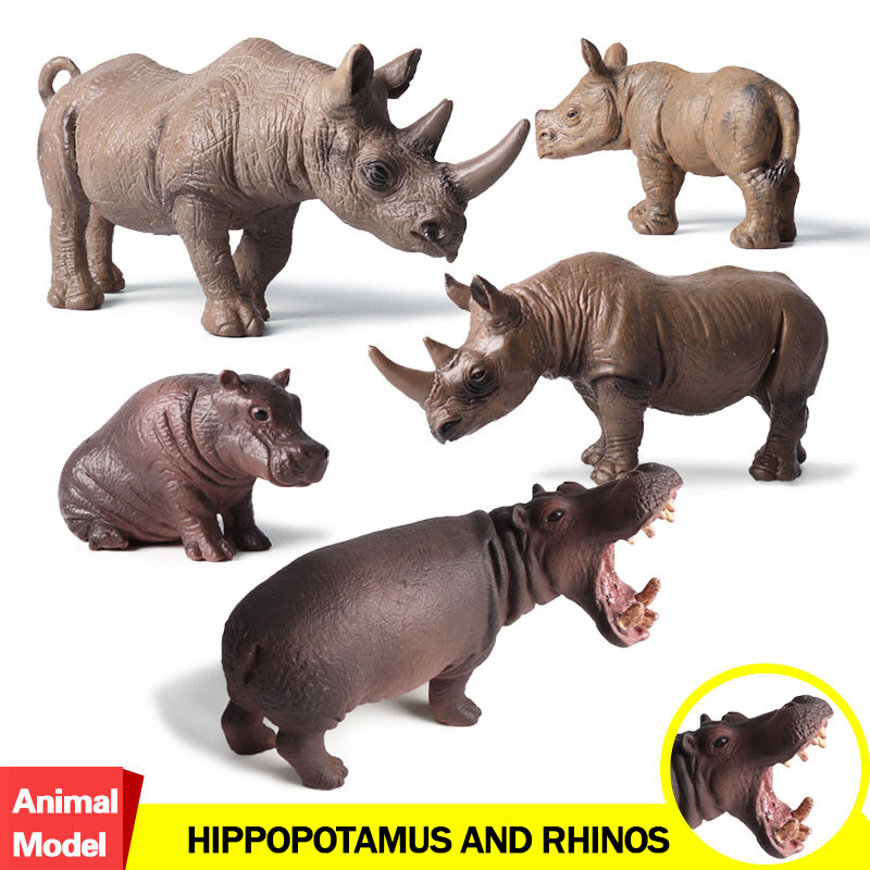 Action&Toy Figure Wildlife Animal The Hippopotamus and Rhinos PVC Model Collectible Doll Figure Collection For Kid Children Gift