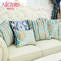 Avigers Thicken Velvet Embroidery Cushion Cover Blue Flower Pillow Case Home Decorative Sofa Chair Bed Seat
