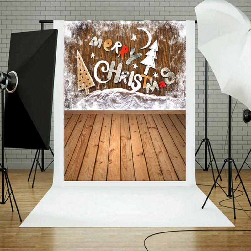 3x5ft Vinyl Christmas Backdrop Photo Studio Photography Prop Merry Christmas and Brown Wood Floor Photo Background vinyl studio backdrop photography prop christmas photo background 7x5ft
