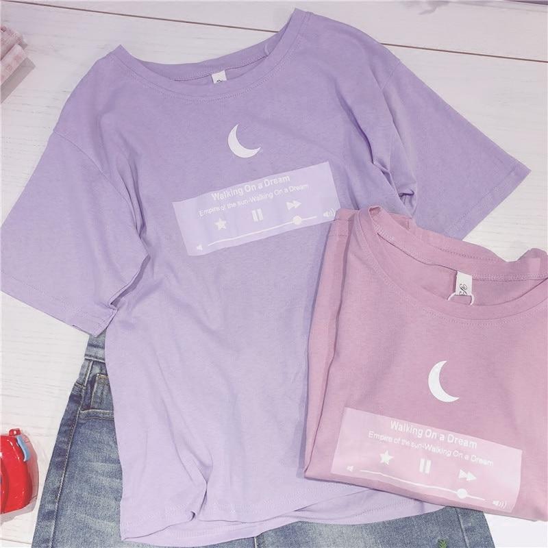 2018 japanischen T-shirt Mond Frauen Beste Freunde T hemd Rosa Lila Nette Top für Teenager Colleage Mädchen Stil 2XL Plus größe Weibliche