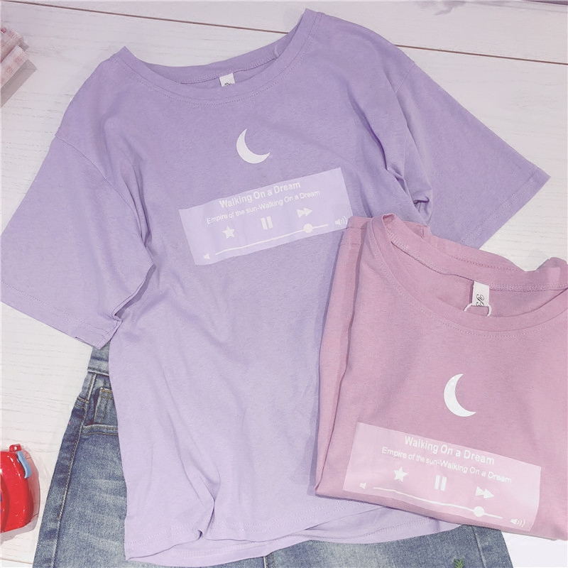 2018 japoneses camiseta Luna de las mujeres mejores amigos T camisa rosa púrpura lindo Top adolescente colega chicas 2XL Plus tamaño