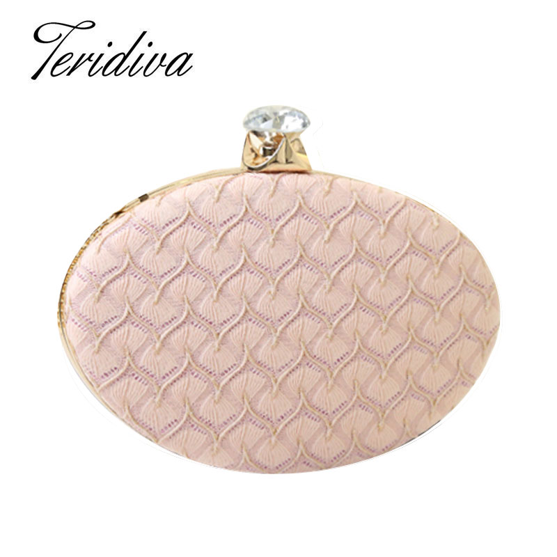 Teridiva Diamond Clutch Handbags Lace Evening Bag Hollow Out Small Pink Purse for Wedding Chain Shoulder Bags