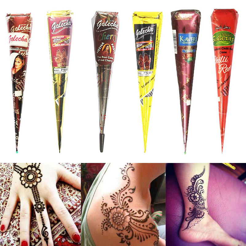 6 Colors Indian Henna Paste Temporary Tattoo Waterproof Body Paint Henna Art Black Brown Cream Cone For Stencil Mehndi Body Art