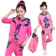 Дети Комплект Одежды Девушки Осень 2016 новых детских осень спорт трех частей большая девочка цветочные граффити детская одежда возраст 3Y-13Y