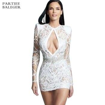 PB 2020 New Arrival szykowny biały sukienka z cekinami talia projekt koralików z długimi rękawami seksowna dziurka od klucza impreza celebrytów klub Mini sukienka