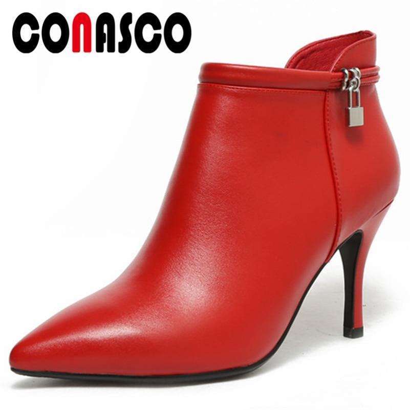 50603d5d0dced2 Hauts Cuir Bureau Talons Femmes Véritable rouge Cheville Sexy Femme Bottes  Chaussures Bout De Noir En ...