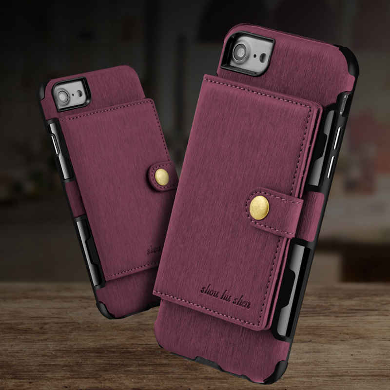 MAKEULIKE Card Slot Back Case For iPhone 7 8 Plus Wallet Case Brushed PU Leather Phone Bags Cases For iPhone 7/8 Plus Cover