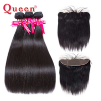 Queen Hair Products Straight Hair Bundles With Frontal Malaysian Remy Hair 3 or 4 Weave Bundles With Lace Frontal Closure Hair