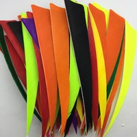 50pcs High Quality 5 Inch Shield Cut Shape Orange Feather Archery Hunting And Shooting Arrow Fletching