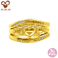 AIJAJA Customized 925 Sterling Silver Engraved Bridal Rings Sets Personalized Words Engraving Lovers Promise Bands