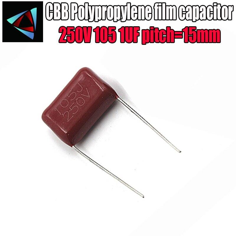5PCS 250V 105J Pitch 15MM 250V 105 1uf CBB Polypropylene Film Capacitor