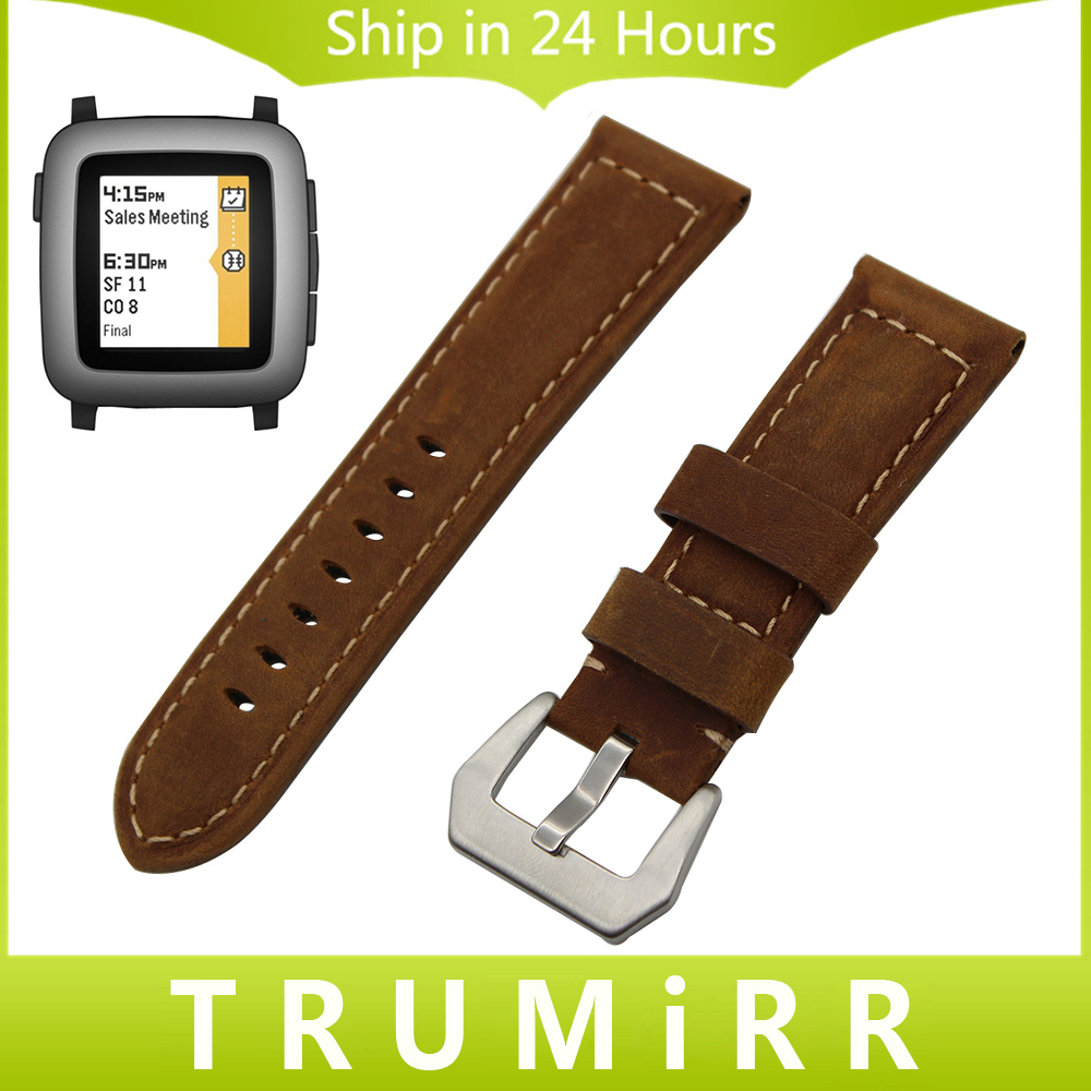 22mm Calf Genuine Leather Watchband for Pebble Time / Steel Watch Band Stainless Steel Tang Buckle Strap Bracelet Black Brown genuine leather watch band 22mm for pebble time steel stainless pin buckle strap quick release wrist belt bracelet black brown