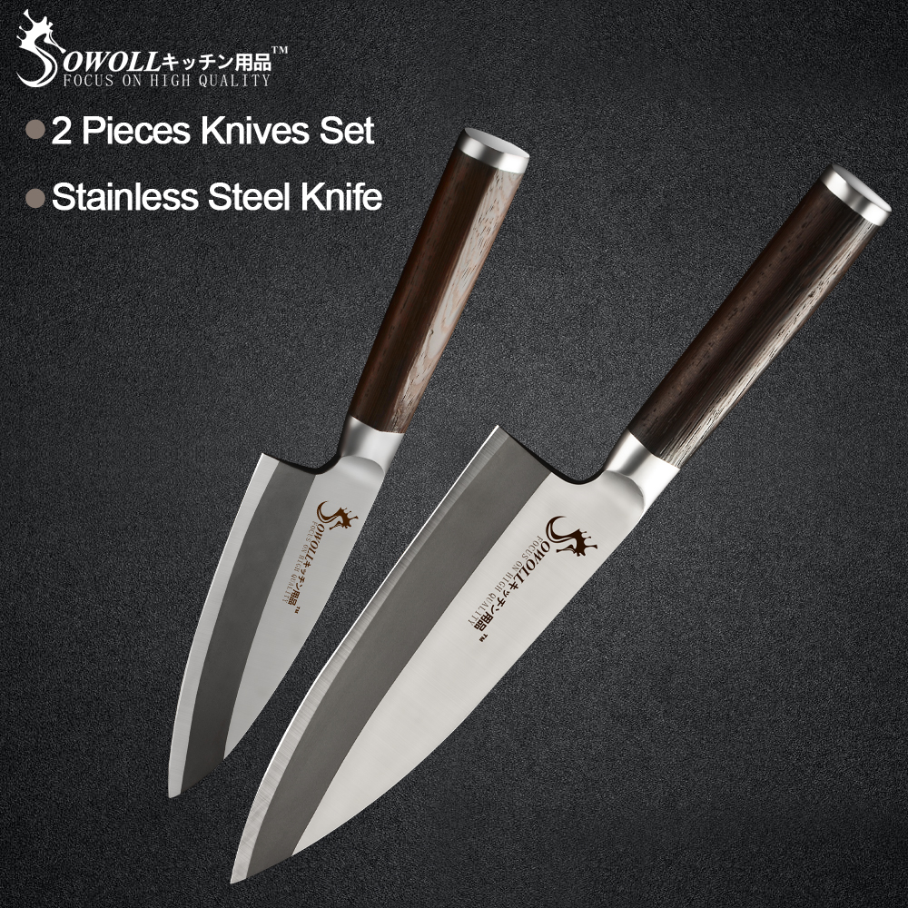 Sowoll Stainless Steel Kitchen Cooking Knife 6'' 8''Color Wood Handle High Carbon Blade Chef Knife Meat Fish Fruit Cooking Tools-in Kitchen Knives from Home & Garden    1