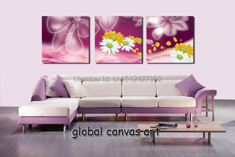 3pcs Modern Home Decoration Wall Art Picture Yellow White Flower On Purple Canvas Print Oil Painting For Living Room In Calligraphy