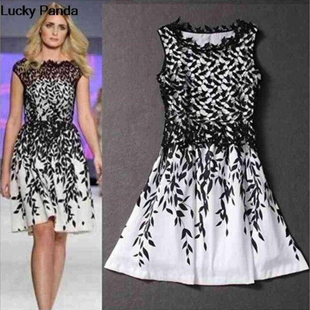 2016 Brand New Fashion Women Dresses Cheap Lace Vestido Plus Size Black White Leaves Summer Dress for Women