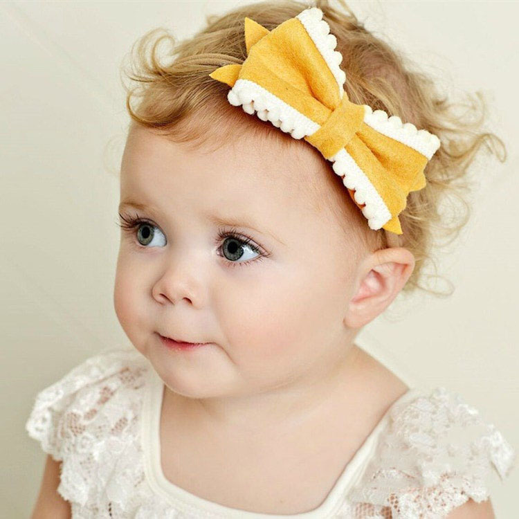 Retail Cute Bow Headband Fabric Bows With Soft Nylon