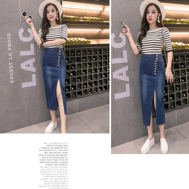 Longues Denim Jupe Fente Taille Droite Jupes été Mode Printemps Femmes Haute Filles Vintage Avant Jeans qgw4SXx1