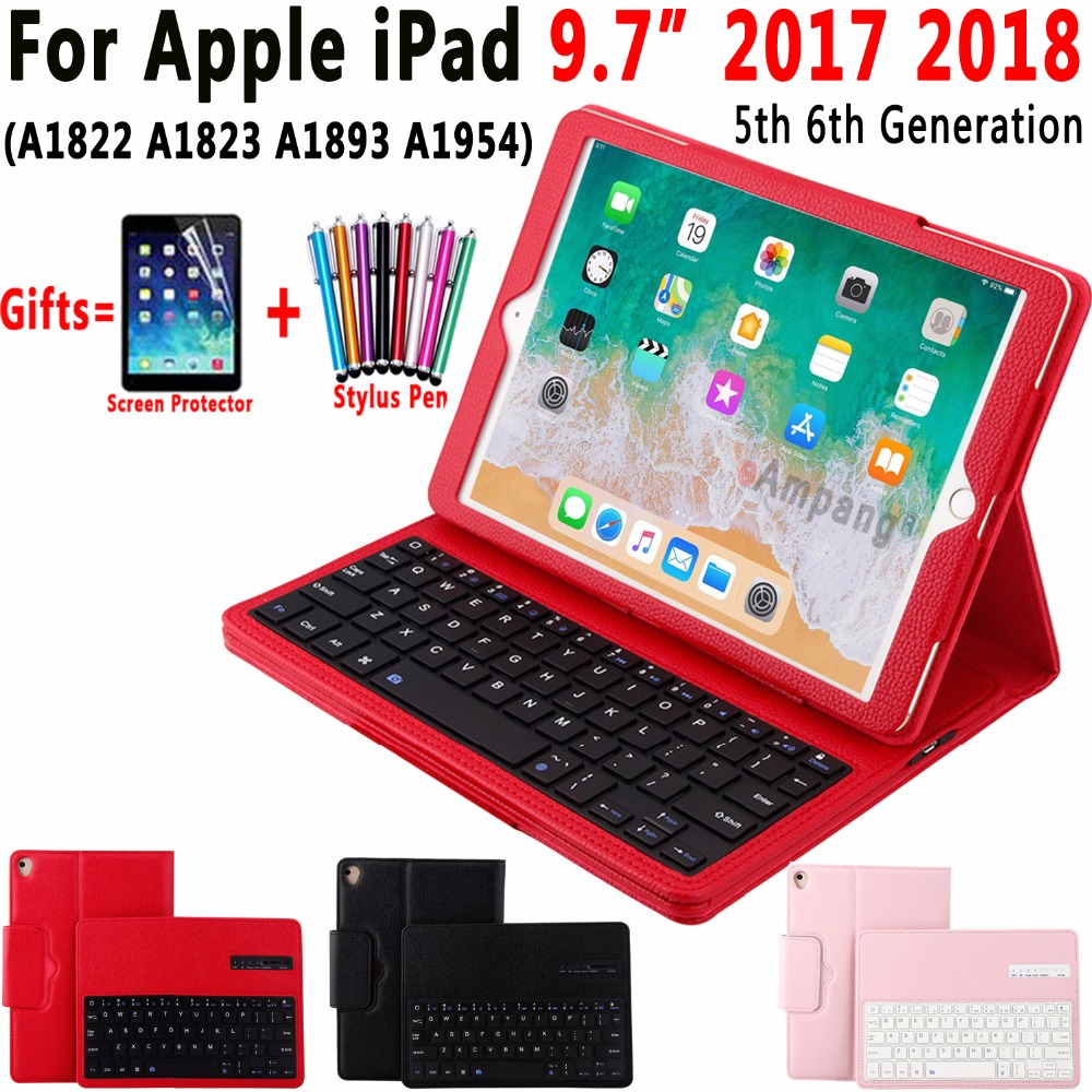Removable Wireless Bluetooth Keyboard Leather Case for Apple iPad 9.7 2017 2018 5th 6th Generation A1822 A1823 A1893 A1954 Cover