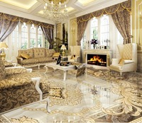 European pattern stone mosaic 3D wallpaper floor for living room 3d floor wallpapers PVC waterproof floor