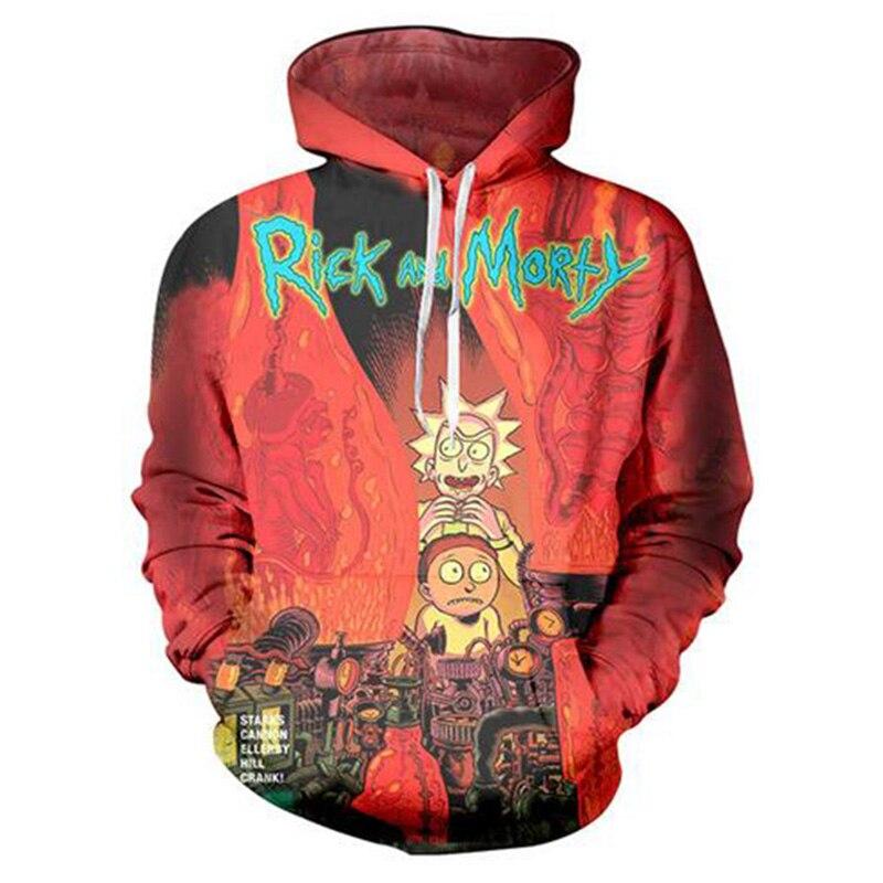 Fresh Style Mens Hoodie Sweatshirt 3D Long Sleeve Rick and Morty Funny Videos Rick Print Mens Hooded Sweatshirt Fashion Top